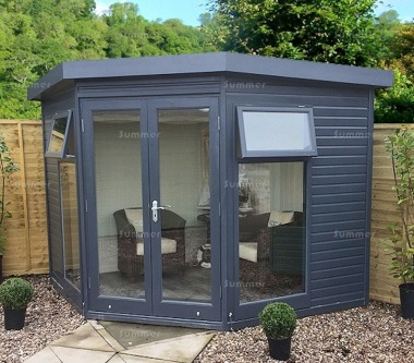 Malvern Studio Corner Summerhouse - Double Glazed