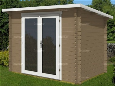 Double Door Pent Roof 28mm Log Cabin 484 - Large Panes