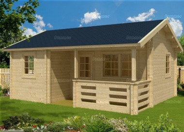 Three Room Side Door Apex Log Cabin 496 - Double Glazed