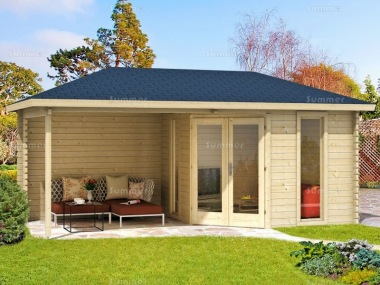 Corner Log Cabin 561 - 40mm, Large Panes, Double Glazed