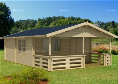 Three Room Apex Log Cabin 807 - Double Door, Verandah