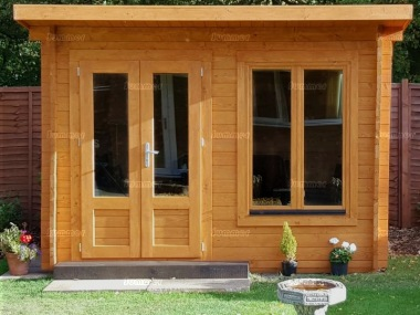45mm Log Cabin 021 - Pent, Double Glazed, Large Panes