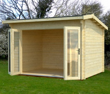Folding Door Apex Roof Log Cabin 639 - Double Glazed