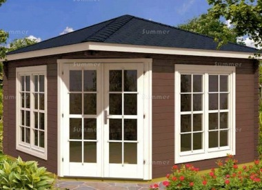 Corner Log Cabin 326 - 40mm, Double Glazed, Plain or Georgian