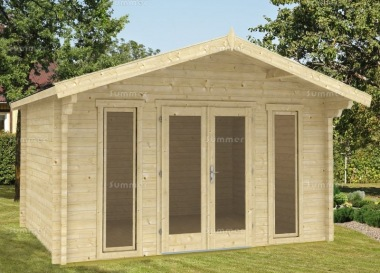 Double Door 40mm Apex Log Cabin 589 - Large Panes, Double Glazed
