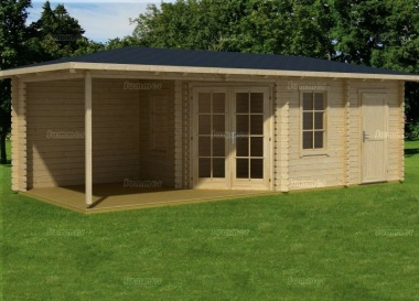 Two Room Double Door 45mm Corner Log Cabin 543 - Verandah