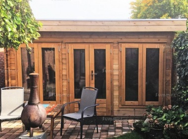 Double Door Pent Roof Log Cabin 601 - Large Panes