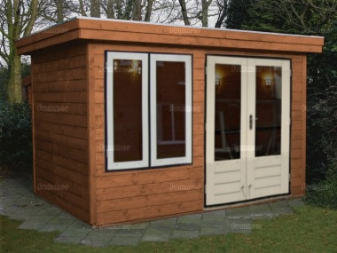 Double Door Pent Roof Log Cabin 301 - Large Panes