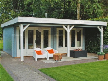 Folding Door Pent Roof Log Cabin 369 - Large Canopy