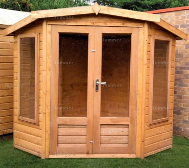 Corner Summerhouse 174 - Shiplap, Large Panes