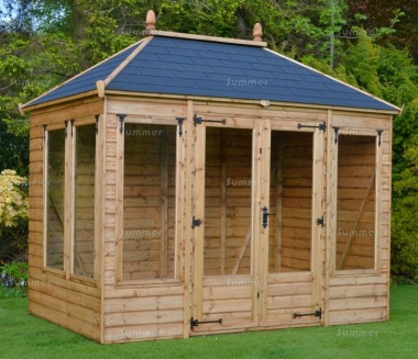 Hipped Summerhouse 911 - Low Level Glazing, Double Door