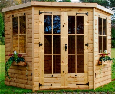 Corner Summerhouse 921 - Georgian, Double Doors