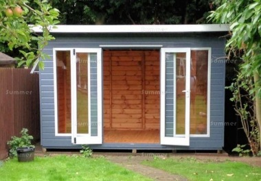 Pent Summerhouse 235 - Low Level Glazing, Double Door