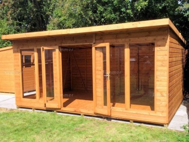 Pent Summerhouse 238 - Low Level Glazing, Double Door