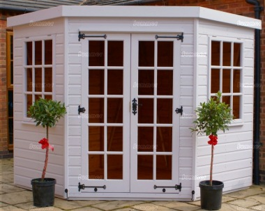 Corner Summerhouse 350 - Georgian, Double Door, Painted